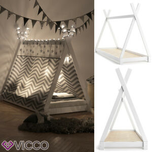 VICCO-TIPI-Indian-children-039-s-bed-house-tent-wooden-cot-90x200cm-white
