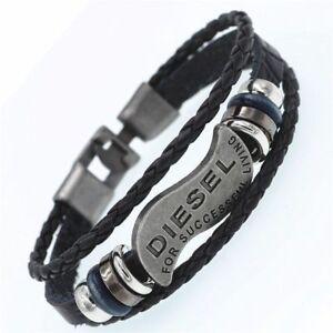 Multilayer-DIESEL-Bracelet-Men-Casual-Fashion-Braided-Genuine-Leather-Bracelets