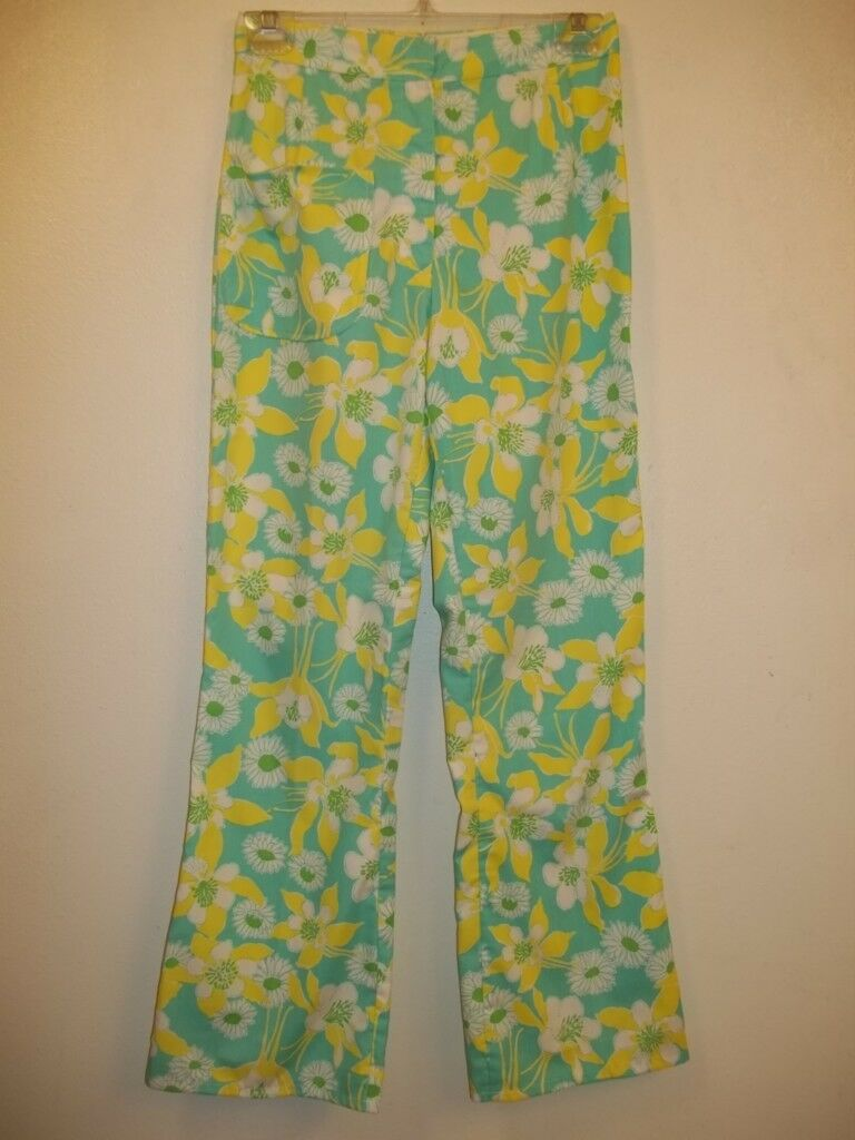 Vintage The LILLY PULITZER Aqua-Yellow-Green-White Flower Print Pants 6