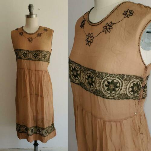 Vintage 1920s 30s Tissue Silk Beaded Dress Dropped