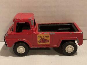 Vintage Tootsie Toy 1969 Fire Chief Pick Up Truck W/Black Interior