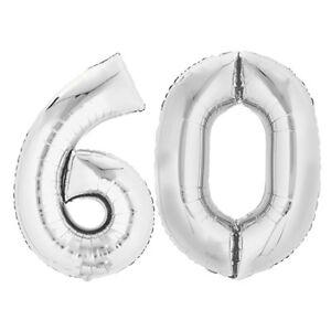 "Folienballon 80 cm SILBER /""60/"" Zahlenballon Luftballon Geburtstag Helium Zahl"