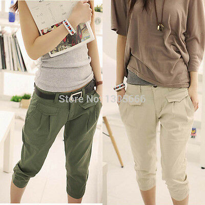 New Casual Womens Summer Cropped Pants Trousers Hot Pants Capris Harem Trousers