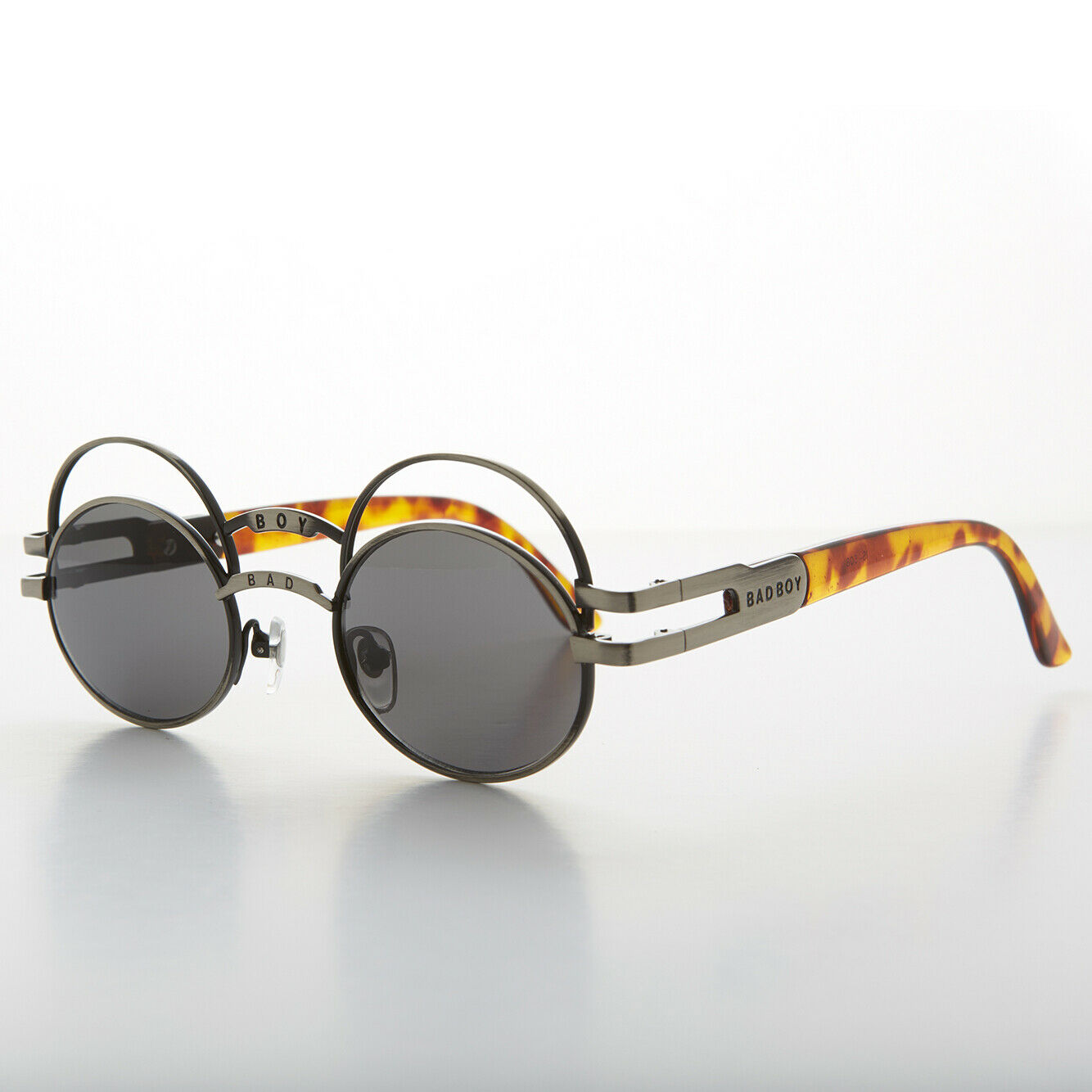 Futuristic Oval Sunglasses with Double Eyelid Gunmetal / Gray Lens - Ace