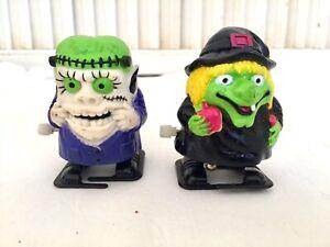 Vintage-1990-039-s-Halloween-Wind-Up-Toys-Frankenstein-amp-Witch-Walkers