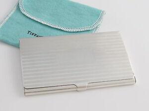 Tiffany co silver stripe striped business card holder case ebay image is loading tiffany amp co silver stripe striped business card reheart Images