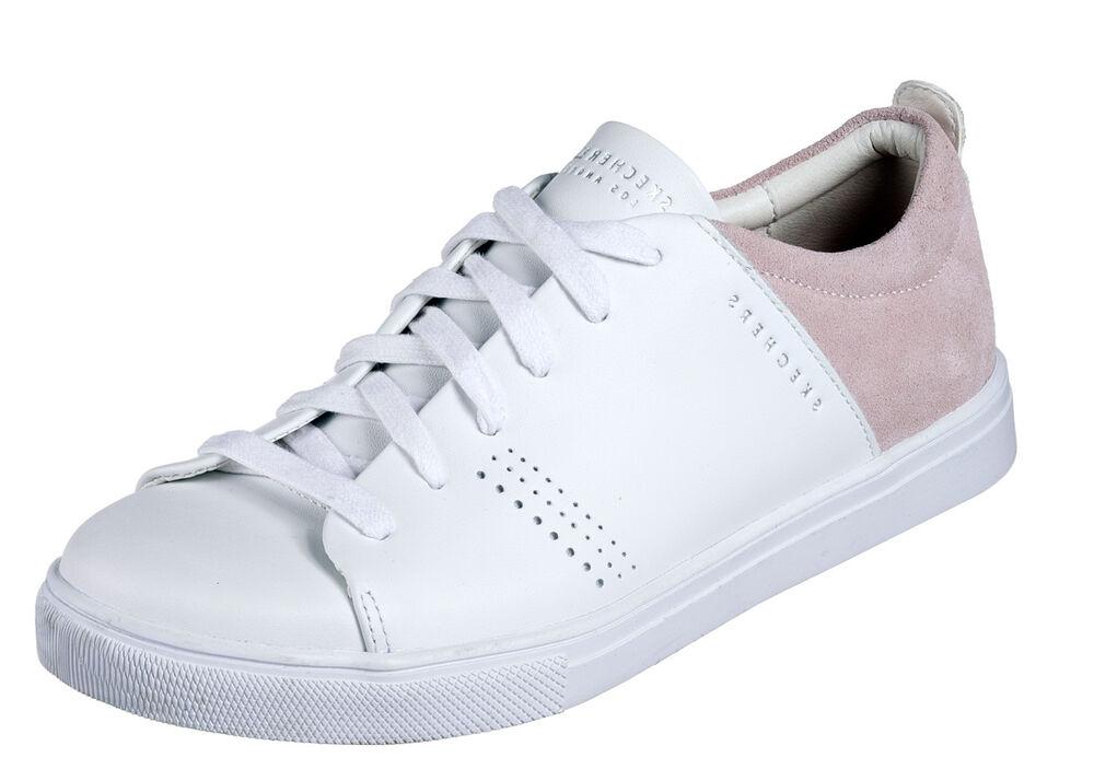 Humoristique Skechers New Moda Clean Street Cuir Blanc Rose Fashion Baskets Sz 3-8 Prix De Liquidation