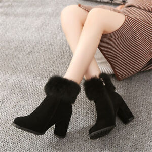 89f09fc7835 Chic Women Block High Heels Faux Fur Ankle Boots Zip Round Toe Solid ...