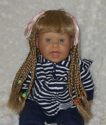 Monique doll wig for 12-13 inch doll blonde with long braid