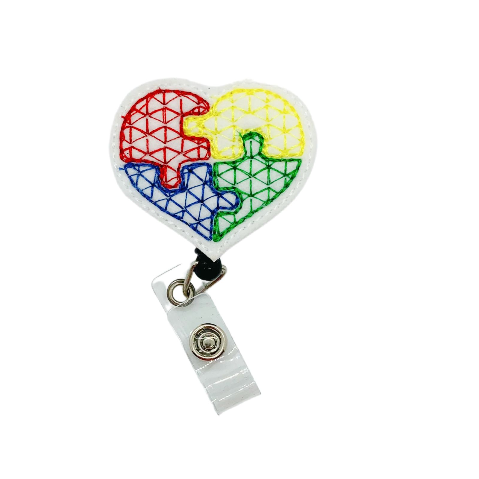 Autism Awareness Badge Reel Holder Clip Heart Nurse ID Charm Cover Accessory