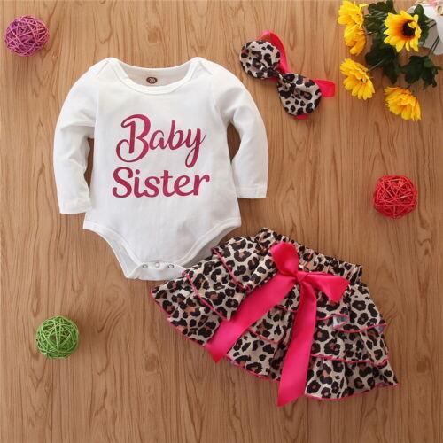 Newborn Baby Girls Clothes Romper Bodysuit Tops Leopard Tutu Skirt Outfits Set
