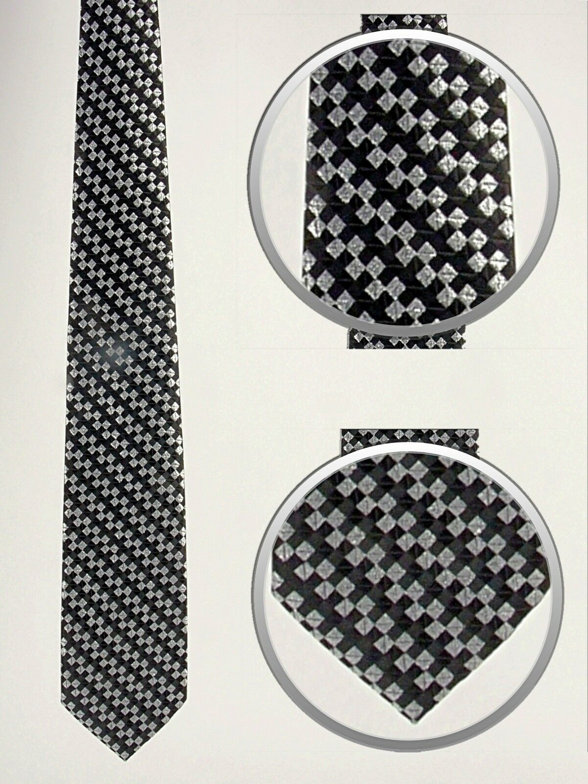 Festliche Krawatte gestreift schwarz mit silber metallic · Microfaser · NEU!