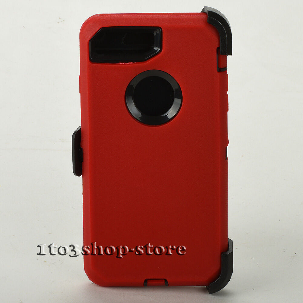 new styles 175bd 2130c Details about iPhone 7 Plus iPhone 8 Plus Defender Shell Case w/Holster  Belt Clip - Red/Black