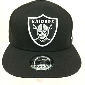 New Era 9Fifty Snapback Hat Mens NFL Oakland Raiders All Black White ... 1be39879674