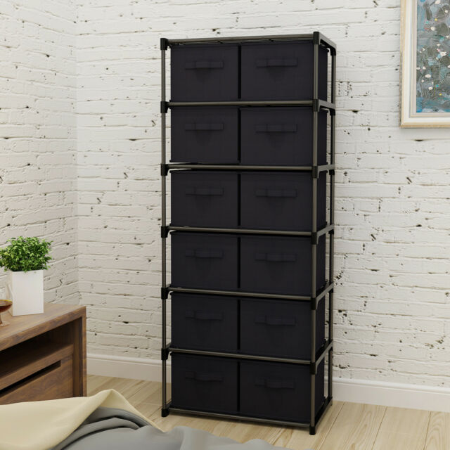 Incroyable 12 Drawers Storage Shelf Unit With 12 Removable Non Woven Fabric Bins In  Black