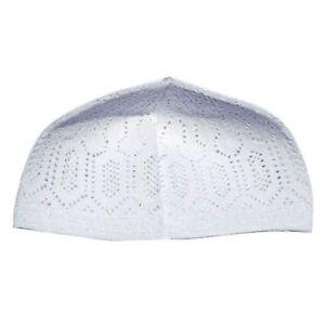 3ec0a19fdf8 White Cotton Open-Knit Turkish Muslim Islamic Kufi Hat Taqiya Takke ...