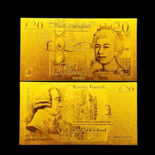 ENGLAND 20 UK UNITED KINGDOM POUNDS P-392 GOLD 24K BANKNOTE!