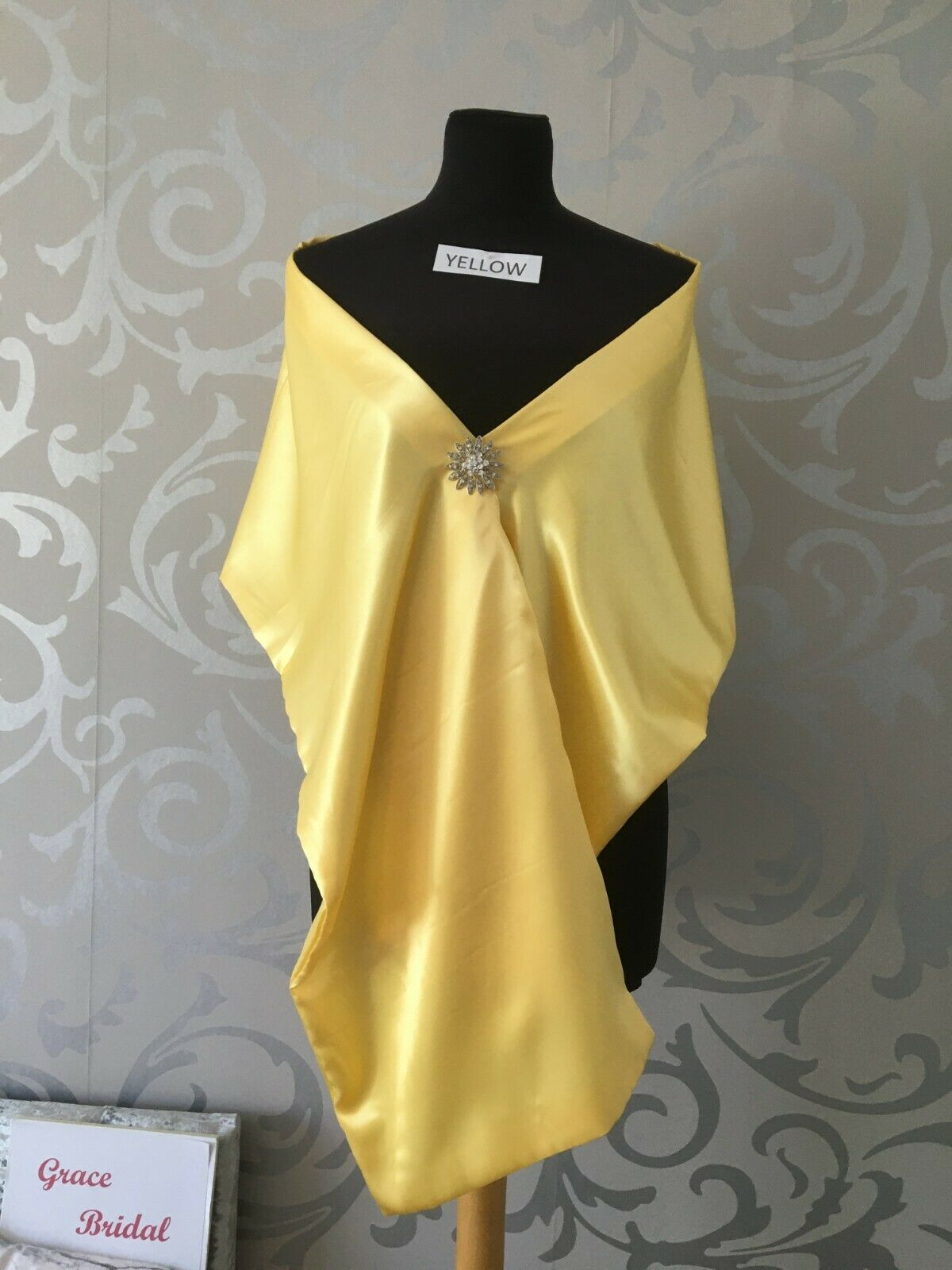 YELLOW SILKY SATIN SHAWL WRAP COVER/UP MAID WEDDING CRUISE PROM *free swatches*