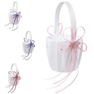 Double-Heart-Wedding-Flower-Girl-Basket-White-Satin-Rhinestone-Decor-V9E6