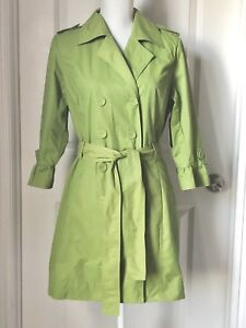 3c63278c072 Details about Women s Apostrophe Green Double Breasted 3 4 Ruffle Sleeve  Trench Coat L.