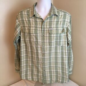 Columbia-Mens-Shirt-Long-Sleeve-Gray-Plaid-Vented-Omni-Shade-Medium-Free-Ship