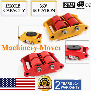 13200lb 6T Heavy Duty Machine Dolly Skate Roller Machinery Mover 360° Rotation