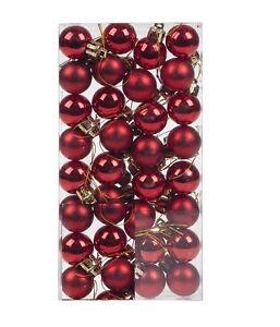 32-Red-Shiny-Oro-Albero-Di-Natale-SFERA-PALLINA-NATALE-FESTA-ADDOBBO-DECORAZIONE-25mm