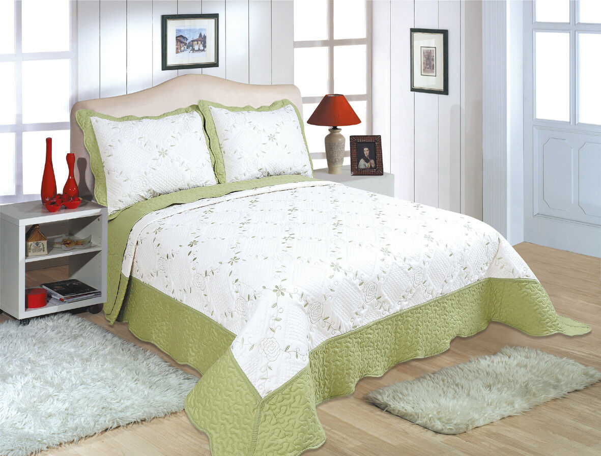 ALL FOR YOU Reversible Bedspread, Coverlet,Quilt 76 Sage flower Embroideries