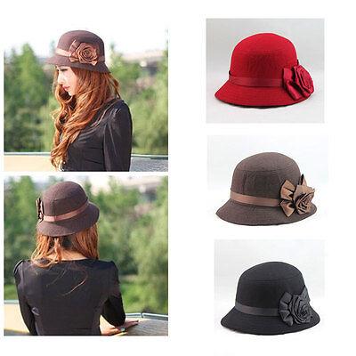Vintage Women Ladies Fedora Hat Rose Flower Cloche Bucket Cap Headwear Fashion