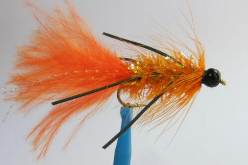 1 x Mouche Streamer Wooly Bugger ORANGE Pattes bille NOIRE H8//10//12 bead legged