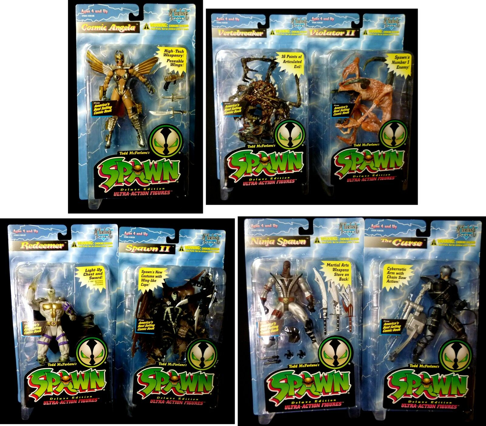 McFarlane Spawn Series 3  Variant Set of 7 Action Figures Collector's Club 1995