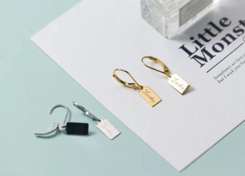 """gold//silber 925 Silber NEU Aufschrift Ohrringe Ohrhänger /""""Lucky/"""""""