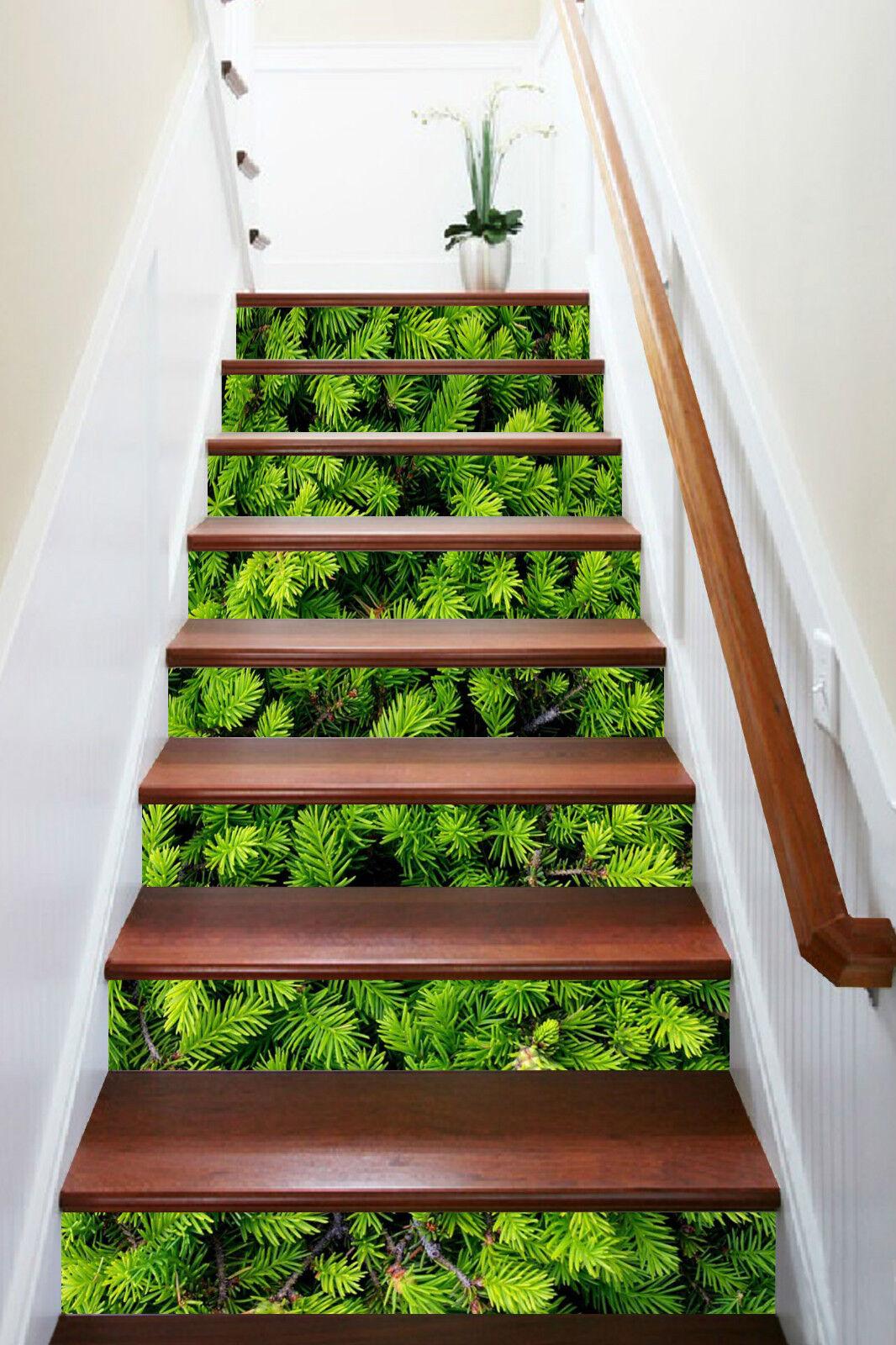 3D green Blatt 257 Stair Risers Dekoration Fototapete Vinyl Aufkleber Tapete DE