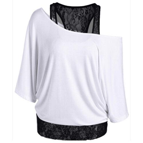 Damen Schulterfrei Spitze Fledermausärmel T-Shirts Vest 2 Stücke Tops Oberteile