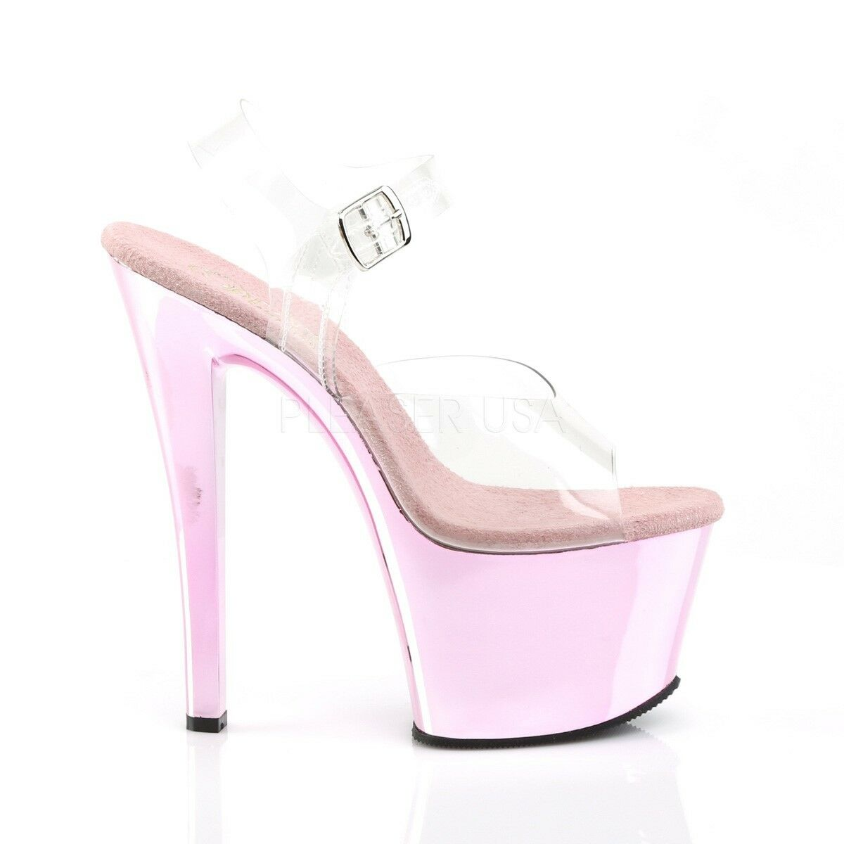 PLEASER PLEASER PLEASER Sky-308 Donna Rosa Spike Punta Aperta Pompa Slide vegan scarpa sandalo cinturino alla caviglia 2e8b8b