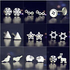 925 Solid Silver Flower Animal Heart Stud Earrings Ladies Jewelry Christmas Gift