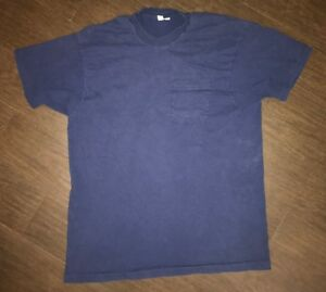 Vintage-Men-s-Fruit-of-the-Loom-Selvedge-Pocket-T-Shirt-Size-2XL-Navy-Blue