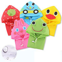 Poncho Kids Cartoon Raincoat Hooded Children Waterproof Rainwear for Age 3-8Y