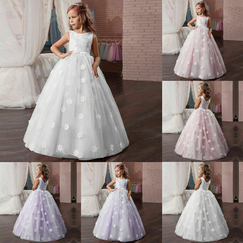 Flower Girl Dress Formal Princess Party Holiday Bridesmaids Wedding Gown ZG8