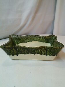 Vtg White Green Drip Speckled Ribs Scallop window herb planter Mid-Cent pottery