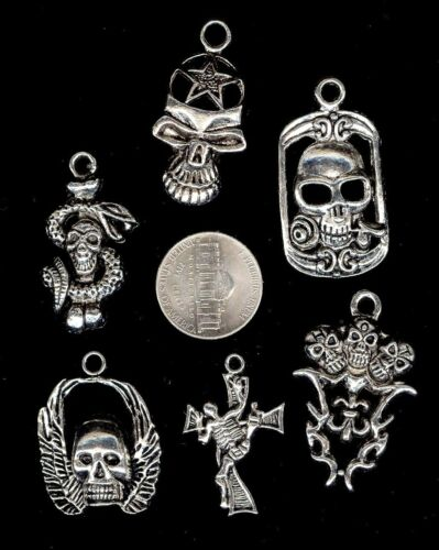 6 Different Lg Silver Skull Theme Pendants Charms Wing Cross Snake Rose Star Mix