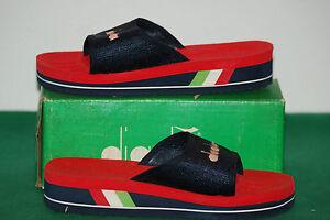 vintage diadora ciabatte slippers made in italy retro 70 80 deadstock 35