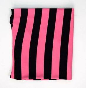 Soft-Jersey-Knit-Bubble-Gum-Pink-amp-Black-Striped-Sewing-Clothing-Fabric-45-x-56
