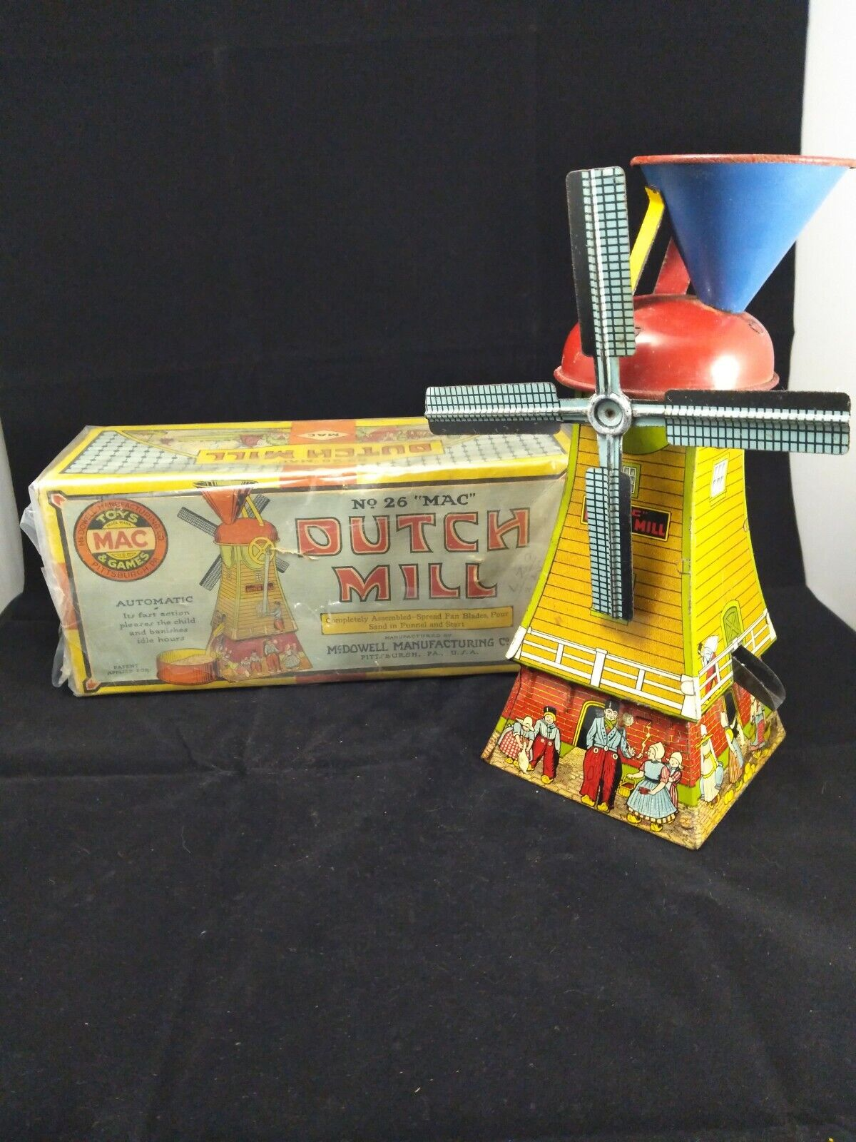 Vintage 1920s Toy Mac Dutch Mill No26  Mac  Sand Toy Tin Lithograph Wow
