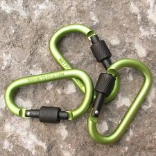 D Ring Shape Carabiner Spring Snap Key Chain Clip Hook Lock Outdoor Buckle Green