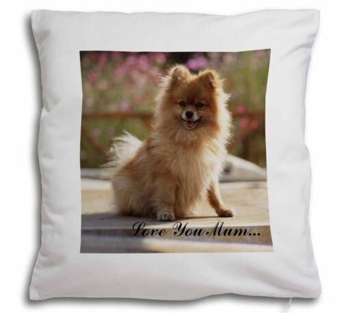 Pomeranian Dog /'Love You Mum/' Soft Velvet Feel Cushion Cover Wit AD-PO89lym-CPW