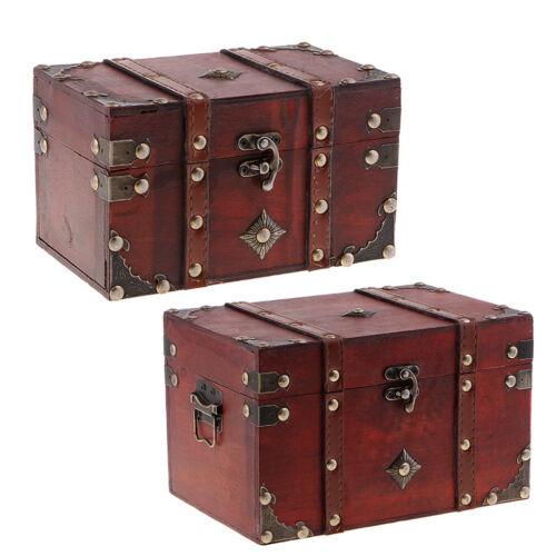 Boîte de rangement d/'accessoire de bijoux de coffre au trésor en bois
