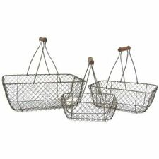 Lot of Primitive Style Rust-Brown Chicken Wire Egg Gathering Basket Wood Handle