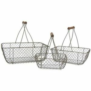 Lot-of-Primitive-Style-Rust-Brown-Chicken-Wire-Egg-Gathering-Basket-Wood-Handle