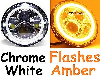 "7"" LED Halo Chrome White & Amber Headlights Ford Falcon GS GT XA XB XC HO XK XL"